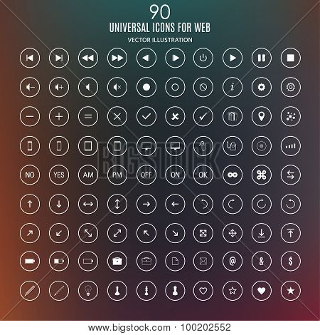 Set Of Universal Icons For The Internet And Mobile Media Devices On The Blurred Abstract Background