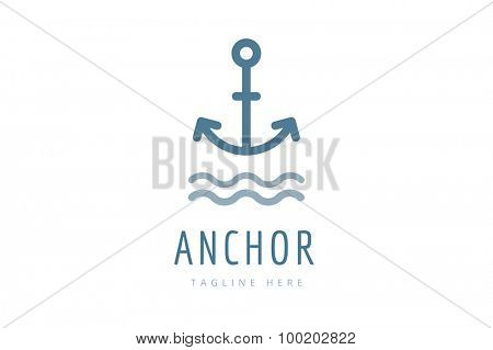 Anchor vector logo icon. Sea anchor logo. Sailor anchor tattoo, anchor symbol. Anchor company logotype. Anchor icons flat. Vintage anchor old style template. Retro anchor shape