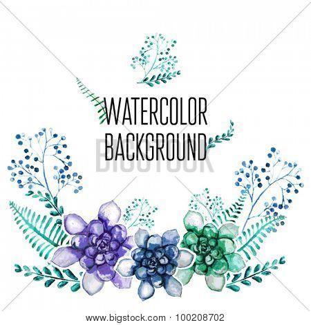 Vector Watercolor Floral background With Hand Painted Leaves. Watercolor Leaf Branch backdrop. Text Frame.