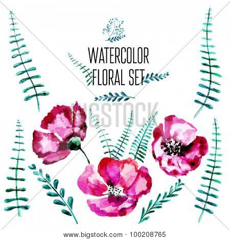 Vector Watercolor Floral Set  With Hand Painted Leaves. Watercolor Leaf Branch backdrop. Text Frame.