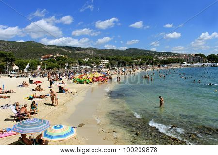 PALMA NOVA BEACH, MAJORCA, SPAIN - 27th August 2015: Palma Nova beach resort on the 27th August 2015. This is a popular and established tourist destination every summer.