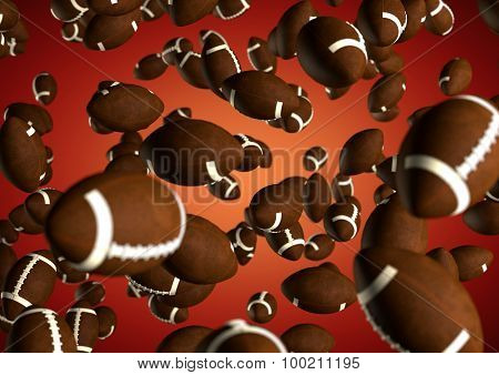 American footballs flying through the air on moody red background. NFL Sports texture pattern background for grid iron or super bowl. poster