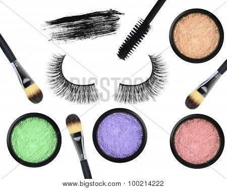 Black false eyelash mascara eyeshadows and brushes isolated on white background poster