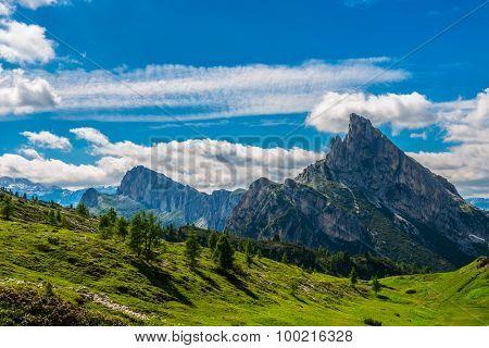 famous Italian  Dolomites alps, South Tyrol.  Auronzo. view on the Sas de Stria rock
