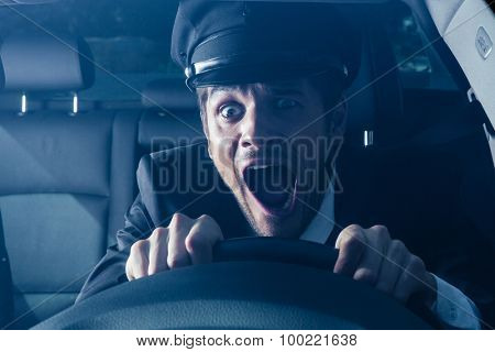 Male chauffeur gets into car crash and makes ridiculous face