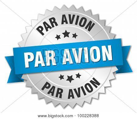 Par Avion 3D Silver Badge With Blue Ribbon