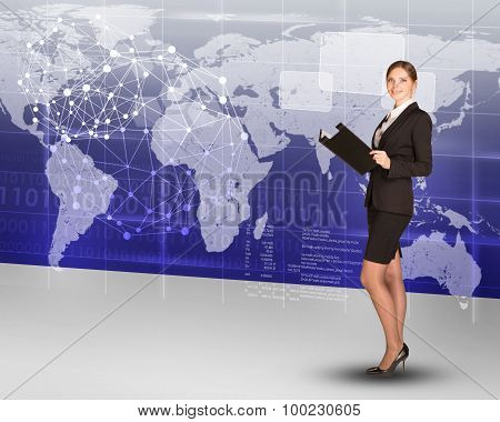 Businesslady with folder and world map