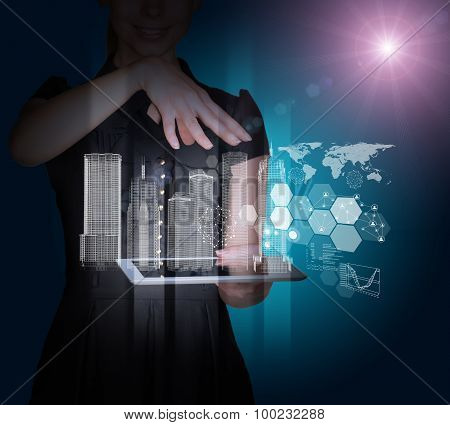Businesslady with tablet and 3d city model