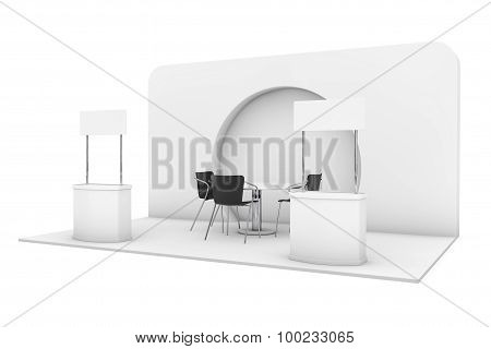 Trade Commercial Exhibition Stand. 3D Rendering