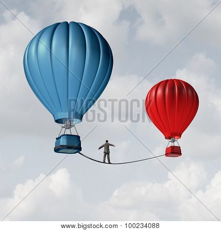 Change challenge and caution business motivational concept as person walking on a tight rope high wire from one hot air balloon to another as taking a risk and danger metaphor for changing position or career. poster