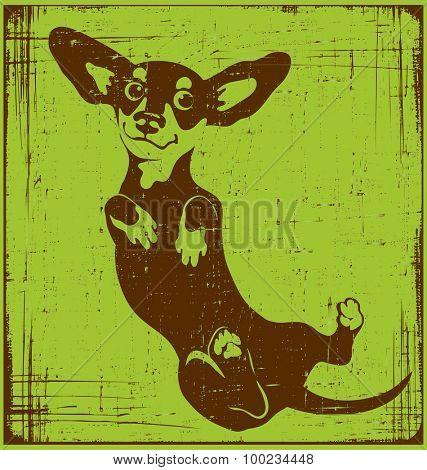 cartoon illustration of a dachshund dog with grunge texture