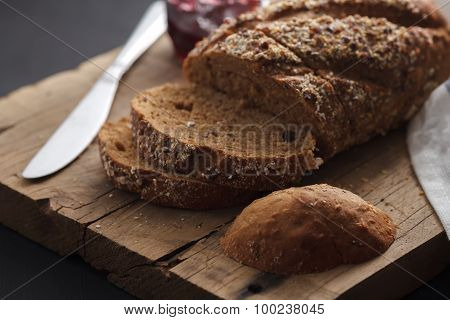 Dark Multigrain Bread Whole Grain And Jam Fresh Baked On Rustic