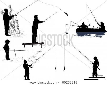 illustration with seven silhouettes of people fishing isolated on transparent background