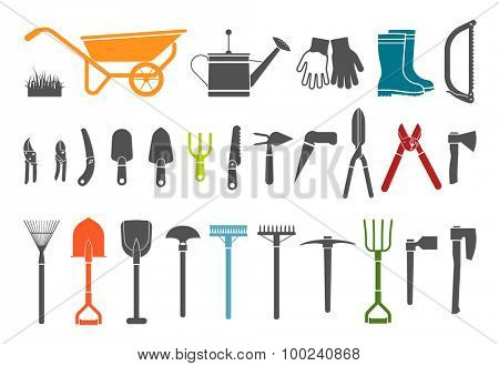 Set of various gardening items. Gardening tools. Pictogram icon set of items for gardening.