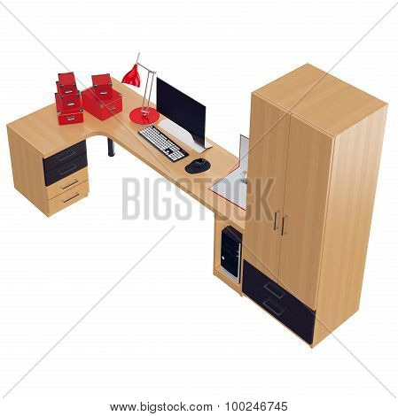 Office furniture packed with computer and chancellery stuff. 3d graphic