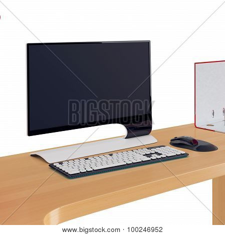 Modern style computer display, keyboard and mouse on office table of wood. 3d graphic