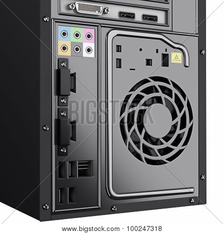 Back panel system block of some PC. 3d graphic