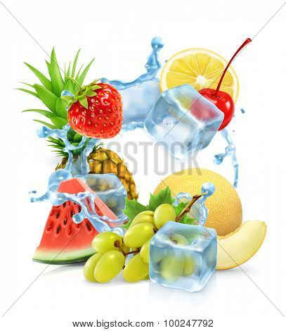 Multifruit with ice cubes and water splash, vector
