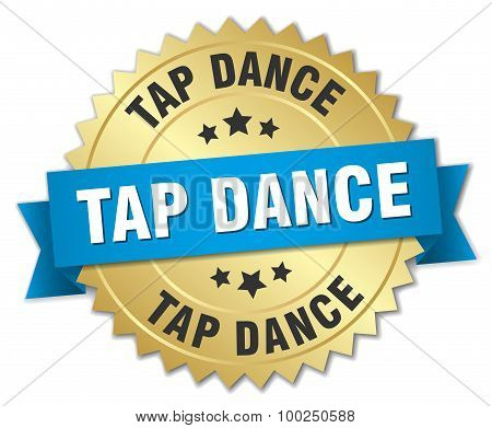 Tap Dance 3D Gold Badge With Blue Ribbon