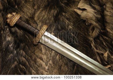 Still Life With Scandinavian Sword On A Fur