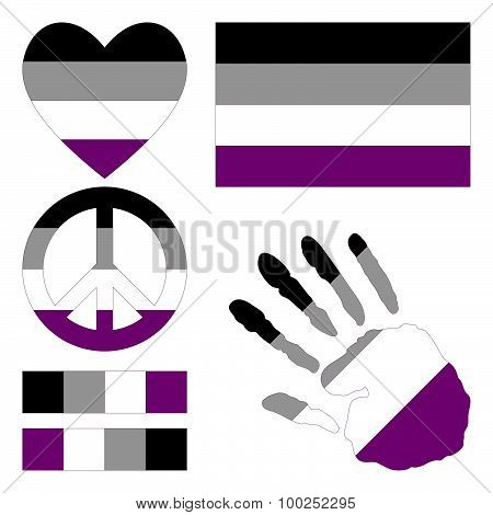 Asexual Pride Design Elements.