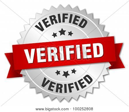 Verified 3D Silver Badge With Red Ribbon