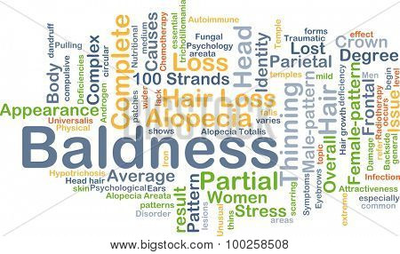 Background concept wordcloud illustration of baldness