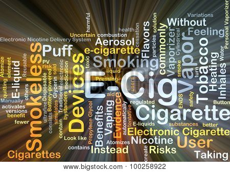 E-Cig background concept glowing