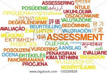 Background concept wordcloud multilanguage international many language illustration of assessment