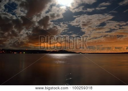Moonlit Night In The Lake.