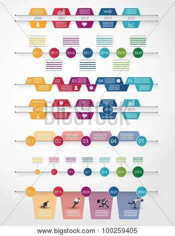 Set of seven different timeline for infograpics, brochures and online use