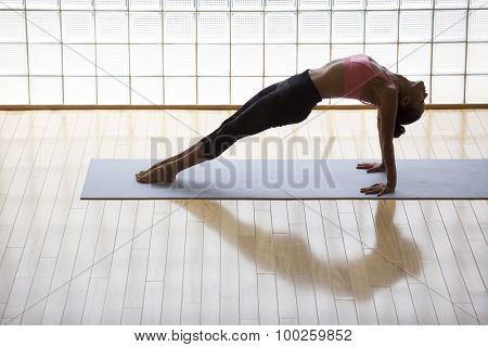 Above shot of a young woman practicing in a yoga studio. Thsi is called reverse plank pose, its a heart opener pose.