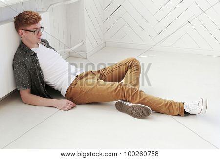 Ginger. Handsome man at home