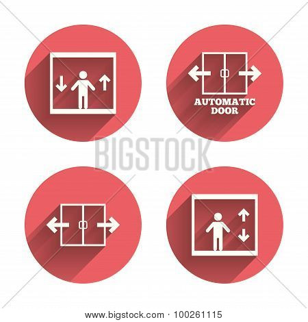 Automatic door icons. Elevator symbols. Auto open. Person symbol with up and down arrows. Pink circles flat buttons with shadow. Vector poster