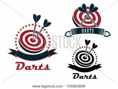 Darts sport emblems or symbols