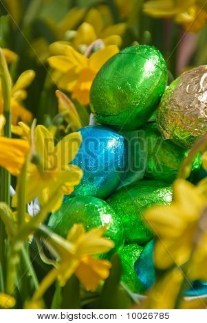Closeup Of Some Foil Wrapped Chocolate Easter Eggs Nestled Among Daffodils