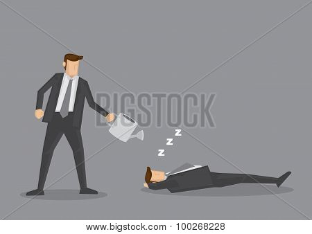 Watering Can Over Sleeping Businessman Vector Illustration