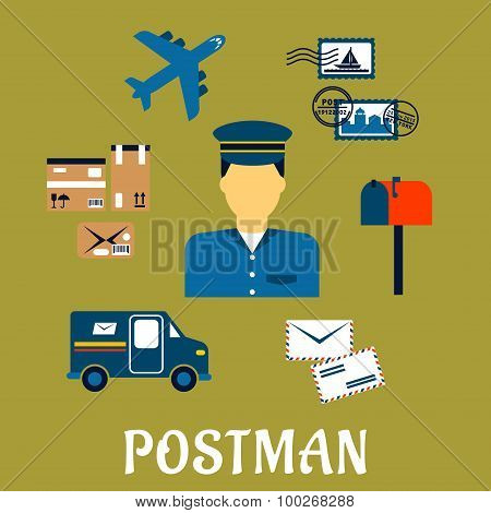 Flat postal icons around a Postman