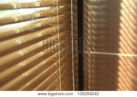 Blinds In Home With Sunlight On The Window