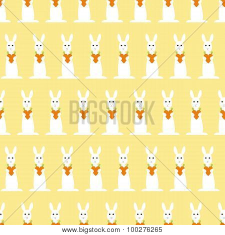Background With Bunny And Carrot Heart