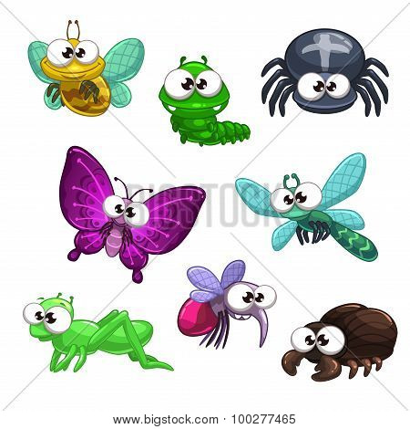 Funny cartoon vector insects set