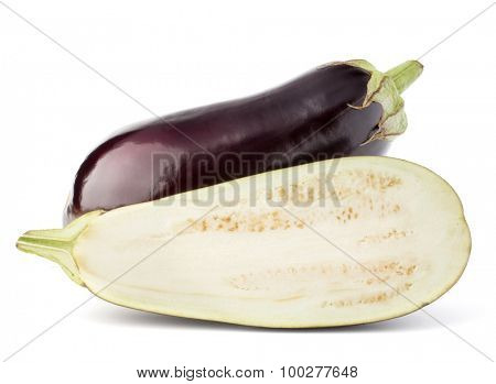 Eggplant or aubergine vegetable isolated on white background cutout poster