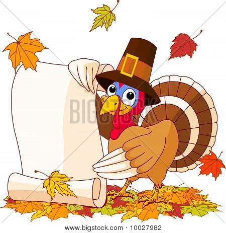 Thanksgiving Turkey Holding Scroll