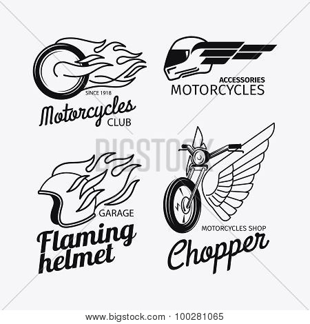 Motorcycle race logo set