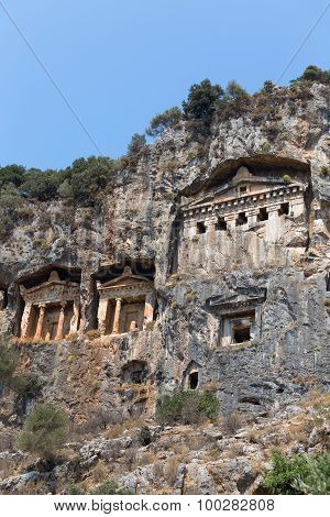 Ancient Lycian Tombs And Ruins Of Caunos, Dalyan, Turkey