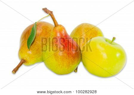 Several Pear Bartlett And Apple On A Light Background