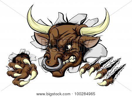 Bull Sports Mascot Breaking Wall
