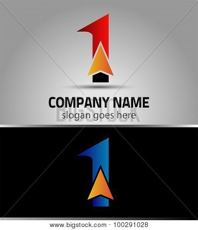 Abstract Number 1 logo Symbol with arrow