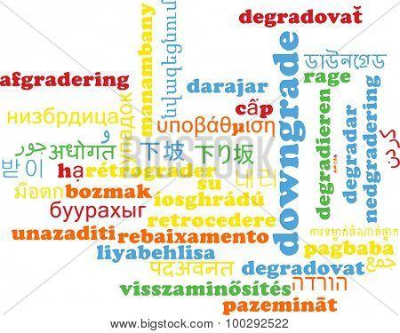 Background concept wordcloud multilanguage international many language illustration of downgrade