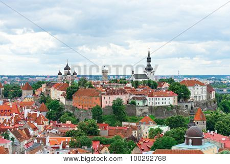 Panoramic view of old town of Tallinn Estonia.
